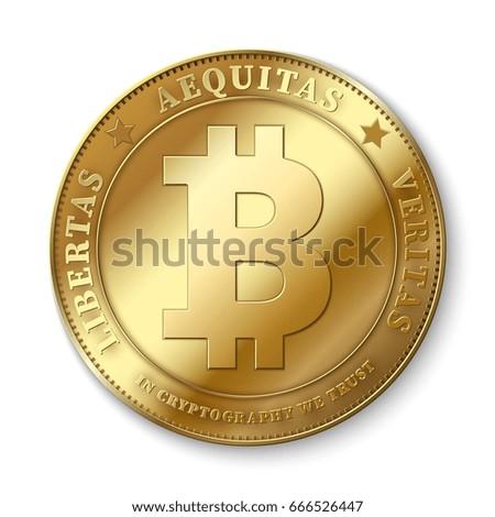 Realistic 3d golden bitcoin coin vector illustration for fintech net banking and blockchain concept. Golden bitcoin money, internet finance coin