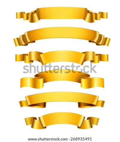 Realistic 3d golden glossy decorative congratulation ribbons set isolated vector illustration