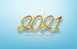Realistic 3d inscription 2021 with golden confetti isolated on blue background. Golden shiny lettering. Vector illustration EPS10