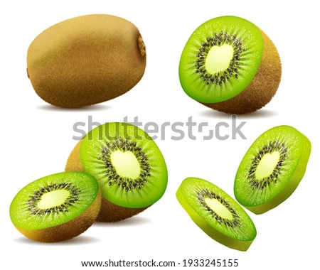 Realistic 3d  kiwi. Juicy exotic whole fruit, half and slice . Fresh organic food for healthy eating. Ripe tropical berry for sweet dessert. vector design.