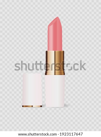 Realistic 3D light pink lipstick icon isolated on transparent background. Vector Illustration EPS10 Photo stock ©