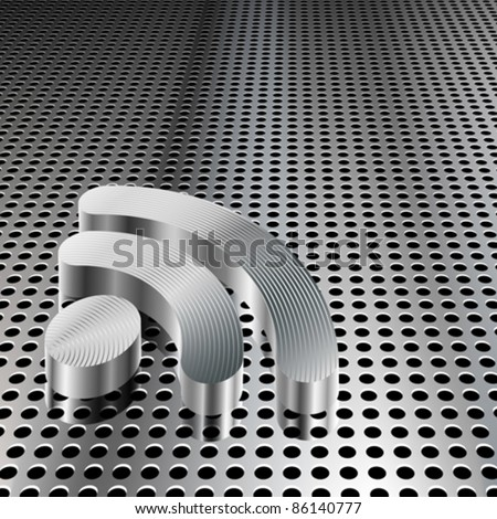 Realistic 3D metallic RSS symbol on chrome grid (EPS10 - Gradient, Transparency, Mesh) - stock vector