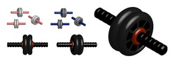 realistic 3D model of sports wheel for press training. Healthy lifestyle, sports in gym and at home. Vector