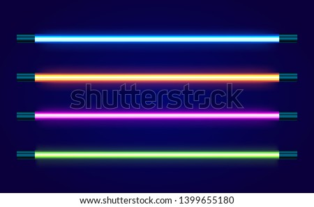 Realistic 3d neon lines set on dark background. 80s Style lamp. Glowing and shining night club sign element. Colorful electric lamps. Vector illustration