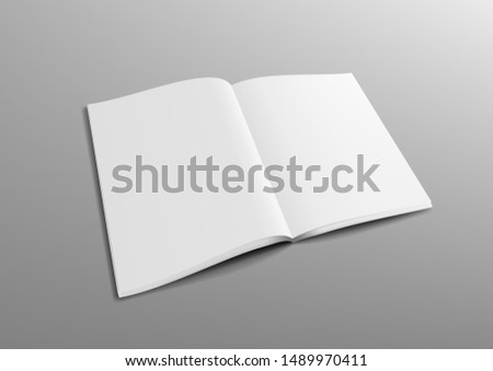 Realistic 3D Perspective Blank Clear Opened Magazine Mock Up. EPS10 Vector