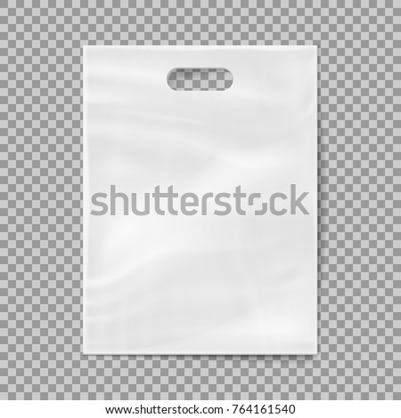 Realistic 3d plastic bag isolated on transparent background. Vector illustration. Eps 10.