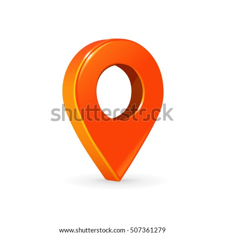 Realistic 3d pointer of map. Orange map marker icon in vector. #507361279