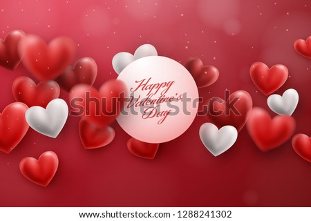 Realistic 3D Red and White Hearts Floating Around. A valentine's day inspired love scene with red hearts. Romantic Vector Background.