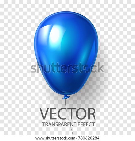 Realistic 3D render Blue balloon vector stock illustration isolated on transparent background. Glossy shine helium balloon in cyan color for Birthday celebration or party.
