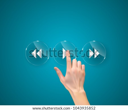 Realistic 3D Silhouette of  hand with finger pressing a play button. Vector Illustration. EPS10