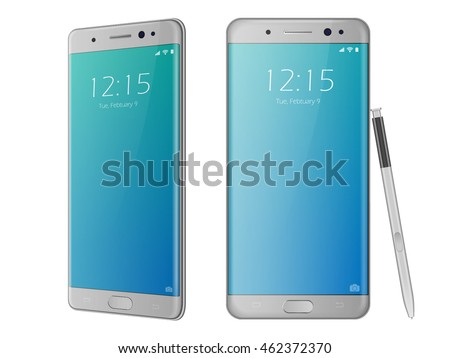 Realistic 3d smartphone mockup. Front and back side of silver, white cellphone. Vector cell phone isolated with pen. Smartphone with edge side style of cellphone.