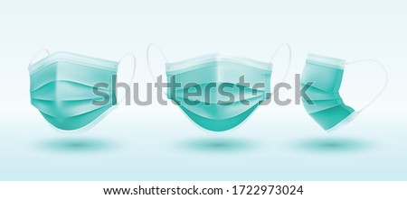 Realistic 3D solid perspective green Medical mask in vector  isolated