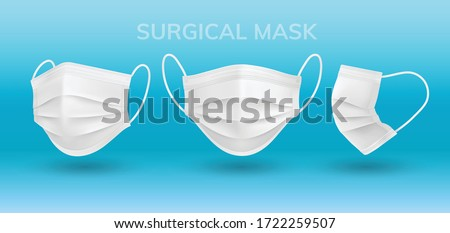 Realistic 3D solid perspective white Surgical mask in vector isolated