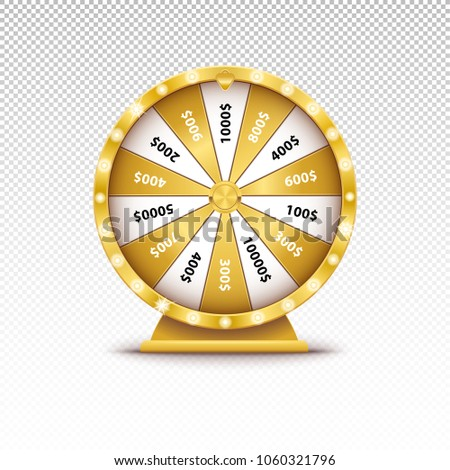 Realistic 3d spin golden fortune wheel, lucky roulette vector illustration on transparent background. Online casino lucky game, gold roulette.