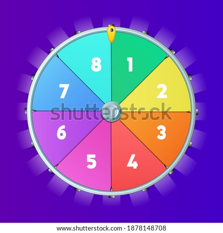 Realistic 3d spinning fortune wheel, lucky roulette vector illustration, Fortune wheel vector background, Online casino concept, Lucky roulette vector illustration Eight segmentation fortune wheel lot