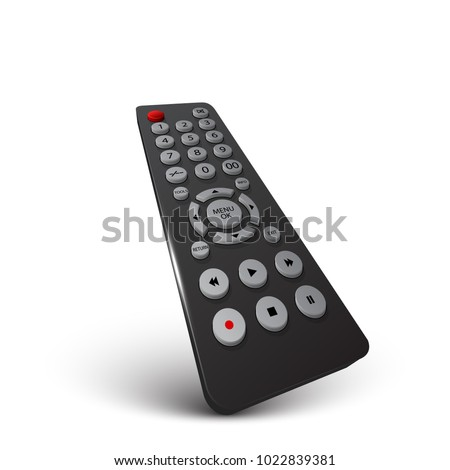 Realistic 3d tv remote isolated on white background, vector design
