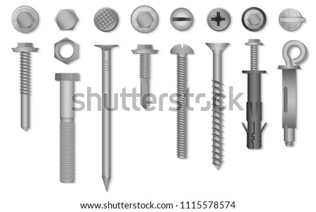 Realistic 3d vector screws, nuts, bolts, rivets and nails for fastening and fixing.