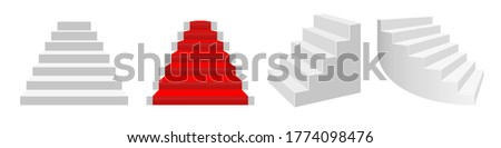 Realistic 3D vector staircases. Front view, front view with a red carpet, half-turn white stairs, curved bent staircase. Сток-фото ©