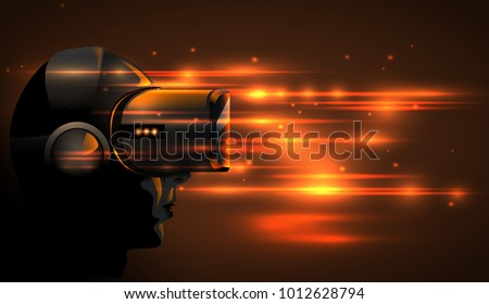 Stock Photo Realistic 3d Virtual Reality Headset Box. Futuristic Innovation digital cyberspace Technology Simulation. Vector silhouette girl wearing stereoscopic vr mask device. Orange glow light background