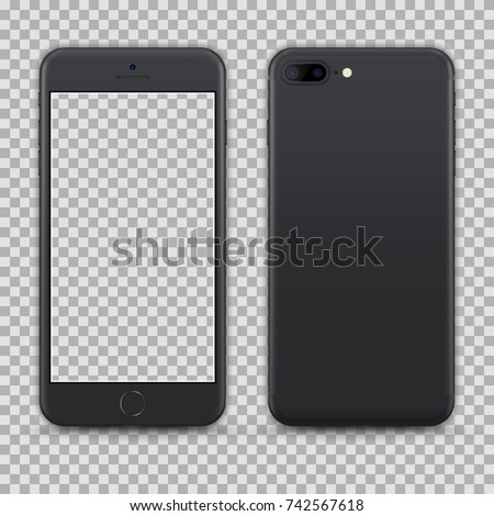Realistic Dark Grey Smartphone isolated on Transparent Background. Front and Back View For Print, Web, Application. High Detailed. Device Mockup Separate Groups and Layers. Easily Editable Vector.