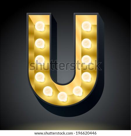 realistic dark lamp alphabet