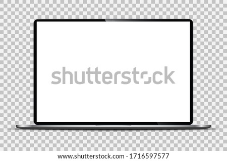 Realistic Dark Notebook with Transparent Screen Isolated. 16 inch Laptop. Open Display. Can Use for Project,