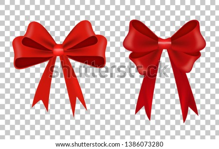 Realistic decorative bow  vector illustration. Vector bow for decor on transparent background. Template for greeting card.