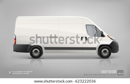 Realistic Delivery Van vector Mockup template. Cargo van template for Car Branding and Corporate identity design on transport. Easy to edit layout. Cargo Minivan Mockup isolated on grey background