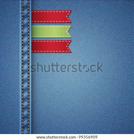 realistic denim background with labels, vector illustration