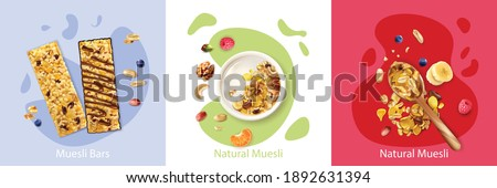 Realistic design concept with natural fruit and berry muesli isolated vector illustration Foto stock ©