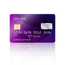 Realistic detailed credit card with abstract geometric purple design isolated on white background. Vector illustration EPS10