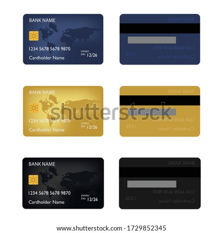 Realistic detailed credit cards set with colorful abstract design background.  Foto stock ©