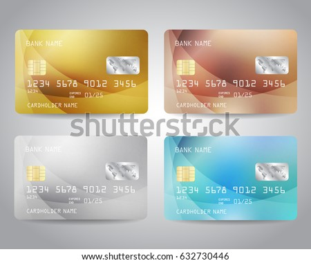 Realistic detailed credit cards set with colorful abstract design background. Golden, golden, bronze, silver, blue colors. Vector illustration EPS10 Golden card