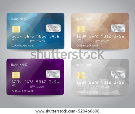Realistic detailed credit cards set with colorful triangular design background. Vector illustration EPS10