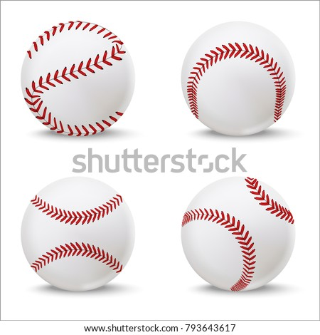Realistic Detailed 3d Baseball Leather Ball Set Closeup View Element for Sport Game. Vector illustration of American Softball
