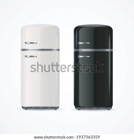 Realistic Detailed 3d Black and White Fridge Set for Home Preserve Food. Vector illustration of Vertical Refrigerator