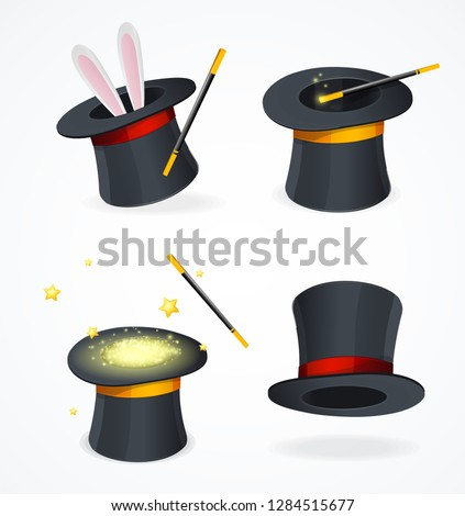 Realistic Detailed 3d Black Magic Hat Set for Showing Trick. Vector illustration of Magical Cap or Cylinder