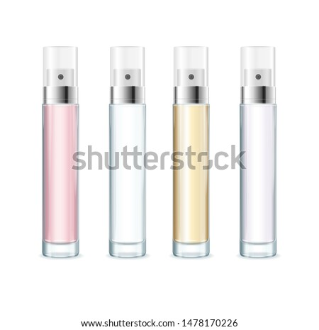 Realistic Detailed 3d Blank Tester Perfume Empty Template Mockup Set Transparent Packaging for Store. Vector illustration of Aerosol ストックフォト ©