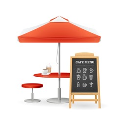 Realistic Detailed 3d Caffee Concept Set Include of Umbrella, Table, Chair and Menu Board. Vector illustration