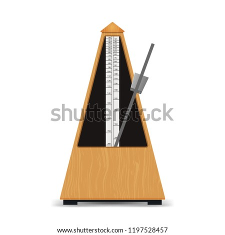 Realistic Detailed 3d Classic Mechanical Swinging Metronome Symbol of Musical Education, Rhythm and Sound. Vector illustration of Wooden Instrument