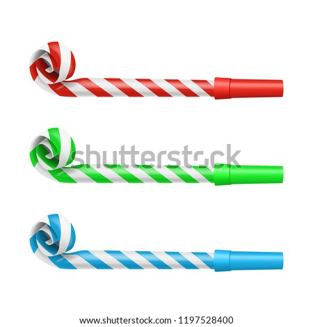 Realistic Detailed 3d Color Party Blower Whistles Set Symbol of Celebration Happy Party. Vector illustration of Whistle