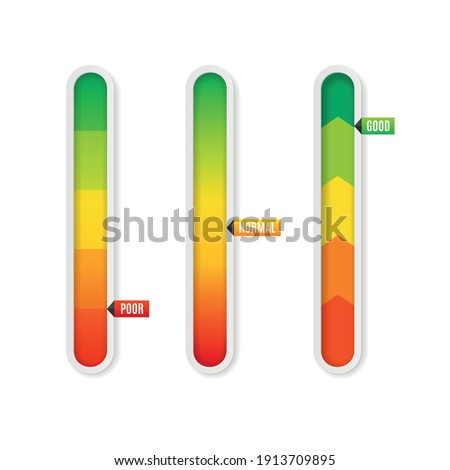 Realistic Detailed 3d Color Vertical Level Indicator Set from Poor to Good for Interface. Vector illustration Сток-фото ©
