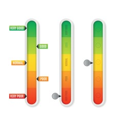 Realistic Detailed 3d Color Vertical Level Indicator Set Isolated on a White. Vector illustration of Comparison Panel