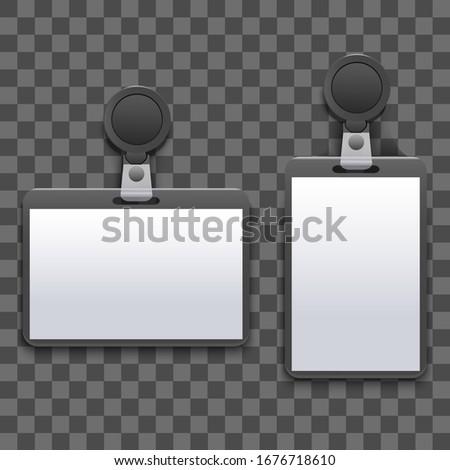 Realistic Detailed 3d Empty Template Mockup Badge Holder on a Transparent Background. Vector illustration