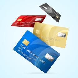 Realistic Detailed 3d Falling Color Business Credit Plastic Card Set Finance Technology for Web Design. Vector illustration of Cards