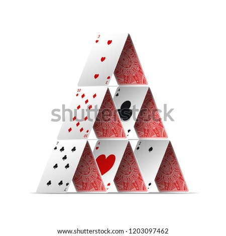 Realistic Detailed 3d House of Poker Card Symbol of Gambling Game and Entertainment. Vector illustration of Play Cards