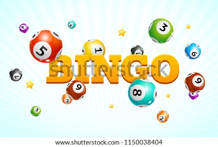 Realistic Detailed 3d Lotto Bingo Concept Card Background Symbol of Game . Vector illustration of Different Types Colorful Fly Lottery Balls Photo stock ©