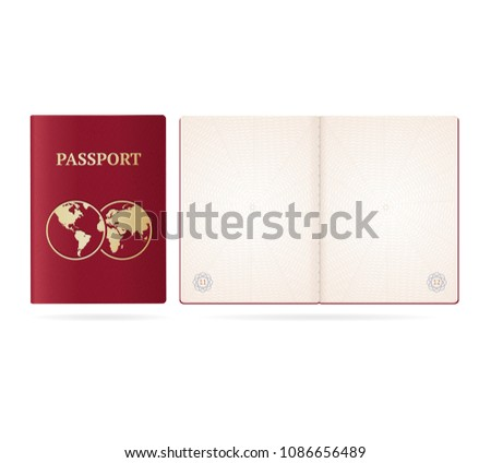 Realistic Detailed 3d Passport Blank and Cover with Globe Document for Tourism and Travel. Vector illustration of id