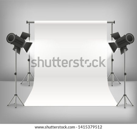 Realistic Detailed 3d Photo Studio and Equipments Include of White Backdrop and Lamp. Vector illustration of Professional Interior