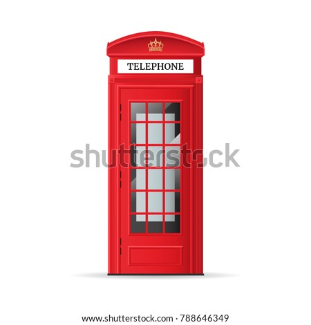 Realistic Detailed 3d Red London Street Phone Booth Isolated on White Background. Vector illustration of British Traditional Tourism Symbol